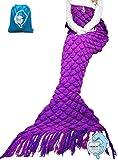 "LAGHCAT Knitted Fabric Mermaid Blanket and Mermaid tail Blanket crochet with Scales Pattern Adult/children, Sleeping Bags.70.2""x35.46""(180CMX90CM)Purple"