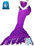 """Amazon Price History for:LAGHCAT Knitted Fabric Mermaid Blanket and Mermaid tail Blanket crochet with Scales Pattern Adult/children, Sleeping Bags.70.2""""x35.46""""(180CMX90CM)Purple"""