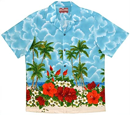 fda1d79b Robert J. Clancey RJC Men's Hibiscus Shores Hawaiian Shirt Blue Large at  Amazon Men's Clothing store: