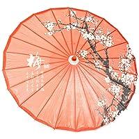 "ASIAN HOME Rainproof Handmade Chinese Oiled Paper Umbrella Parasol 33"" Plum Blossom"