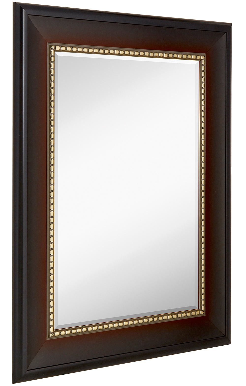 Wide Transitional Framed Mirror | 1'' Beveled Silver Backed Glass | Vanity, Bedroom, or Bathroom | Mirrored Rectangle Hangs Horizontal or Vertical Thick Frame | 30'' x 40'' Inches Style A