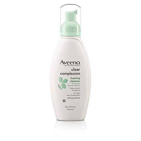 AVEENO Active Naturals Clear Complexion Foaming Cleanser 6 oz (Pack of 2) Clearasil Ultra Rapid Action Acne Treatment Face Scrub, 5 oz, 2 Pack