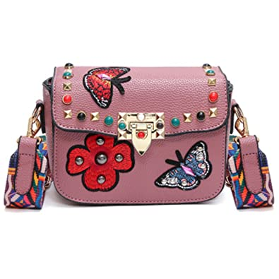Acereima NEW Butterfly Animal Pattern Fashion Mini Women Bags Rivets Embroidery Floral Bag Designer PU Leather