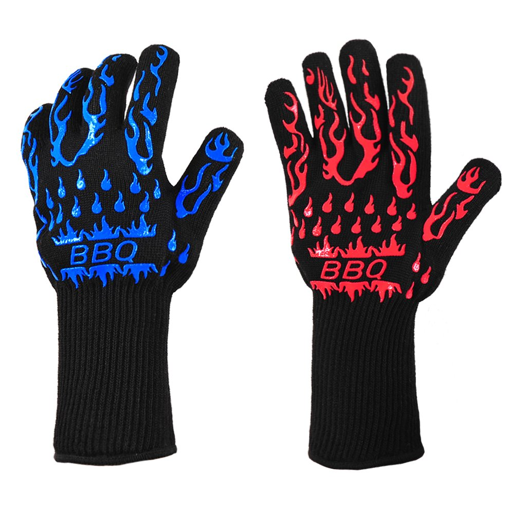AshleyRiver BBQ Grill Glove Extreme Heat Resistant oven gloves For Cooking, Grilling, Baking-11 Inch 1 pair-Small Lady Size