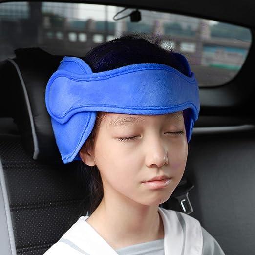 Freesoo Kopfstütze Kindersitz Kinder Auto Kinderkopfstütze Für Autositz Nackenstützen Für Kinderautositze Einstellbare Kopfstützband Kopfschutz Schlafen Kopfhalterung Kopfgurt Kindersitz Blau Baby
