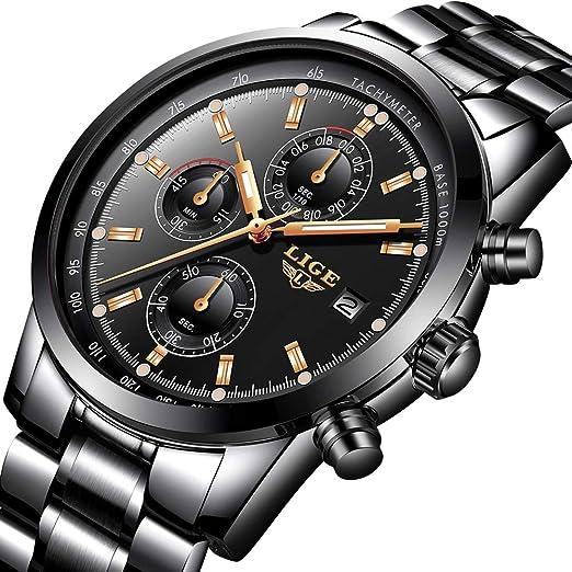LIGE Relojes Hombre, Acero Inoxidable Impermeable Analógico Cuarzo Relojes Deportes Militar Cronógrafo Calendario Oro Negro Relojes: Amazon.es: Relojes