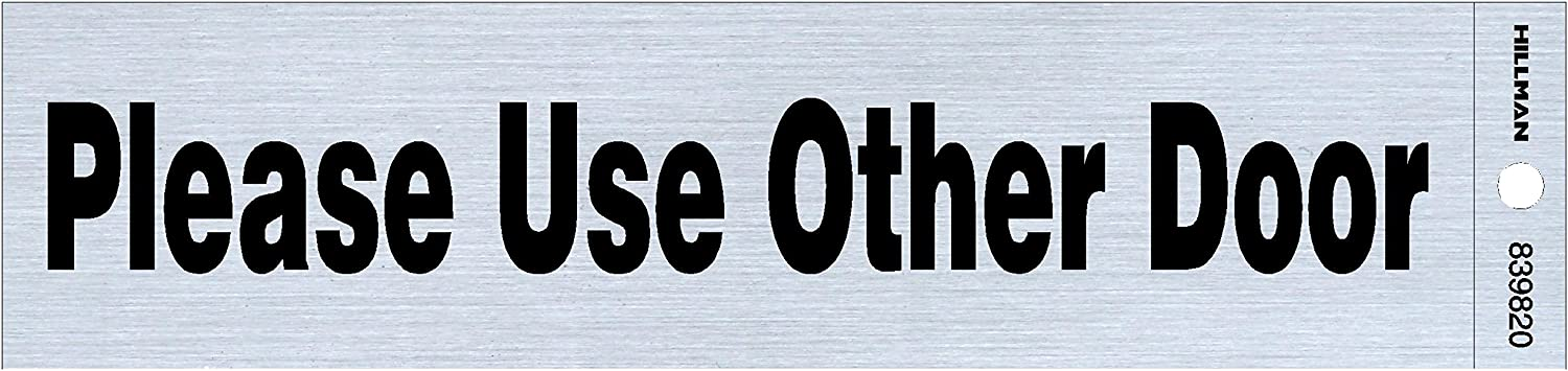 """Hillman 839820 Please Use Other Door Self-Adhesive Sign (2"""" x 8"""")"""