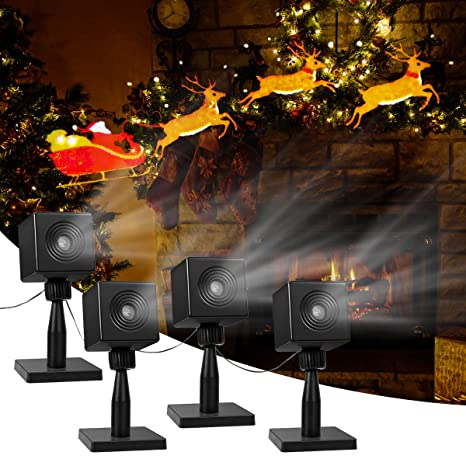 Yunlights Christmas Light Projector Santa Reindeer Led Projector Light Outdoor Christmas Decorations Holiday Projector For Pathway Home Party