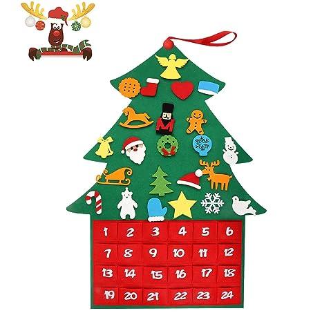 T98 Adventskalender Zum Befüllen, XXL Weihnachtskalender Tannenbaum Filz, Selber Befüllen Kalender mit 24 DIY Weihnachtlichen Ornamente als