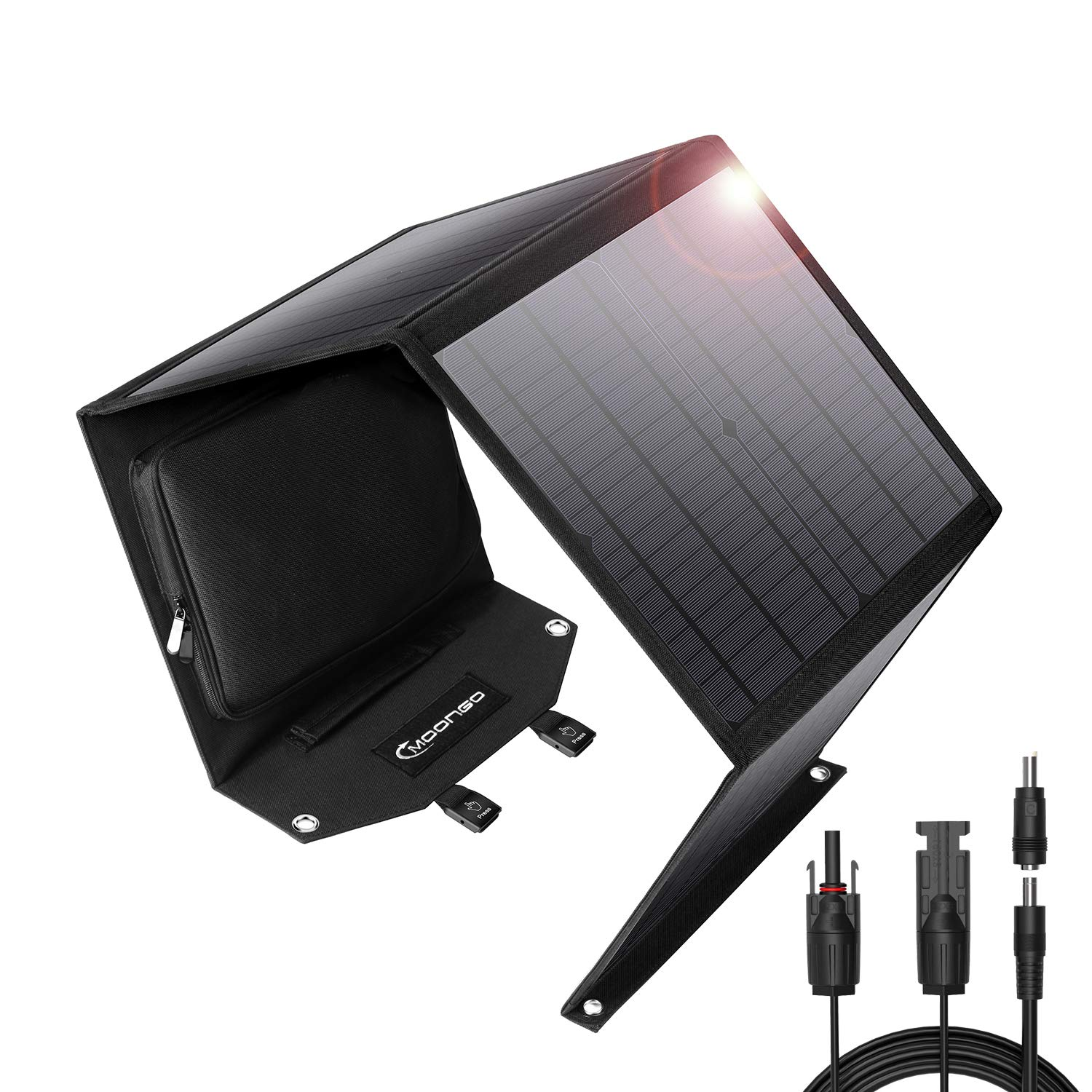 Gifts for Men, 60W Foldable Solar Panel Solar Charger for Jackery Explorer 160 Jackery Explorer 240 Suaoki Enkeeo Goal Zero Yeti Rockpals Portable Power Station and USB Devices by Moongo