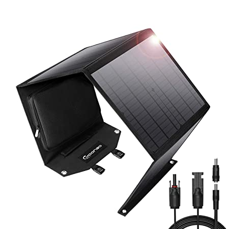 Moongo Tool 60W Foldable Solar Panel Solar Charger for Jackery Explorer 160 Jackery Explorer 240 Suaoki Enkeeo Goal Zero Yeti Rockpals Portable Power Station Generator and USB Devices, QC3.0 Port
