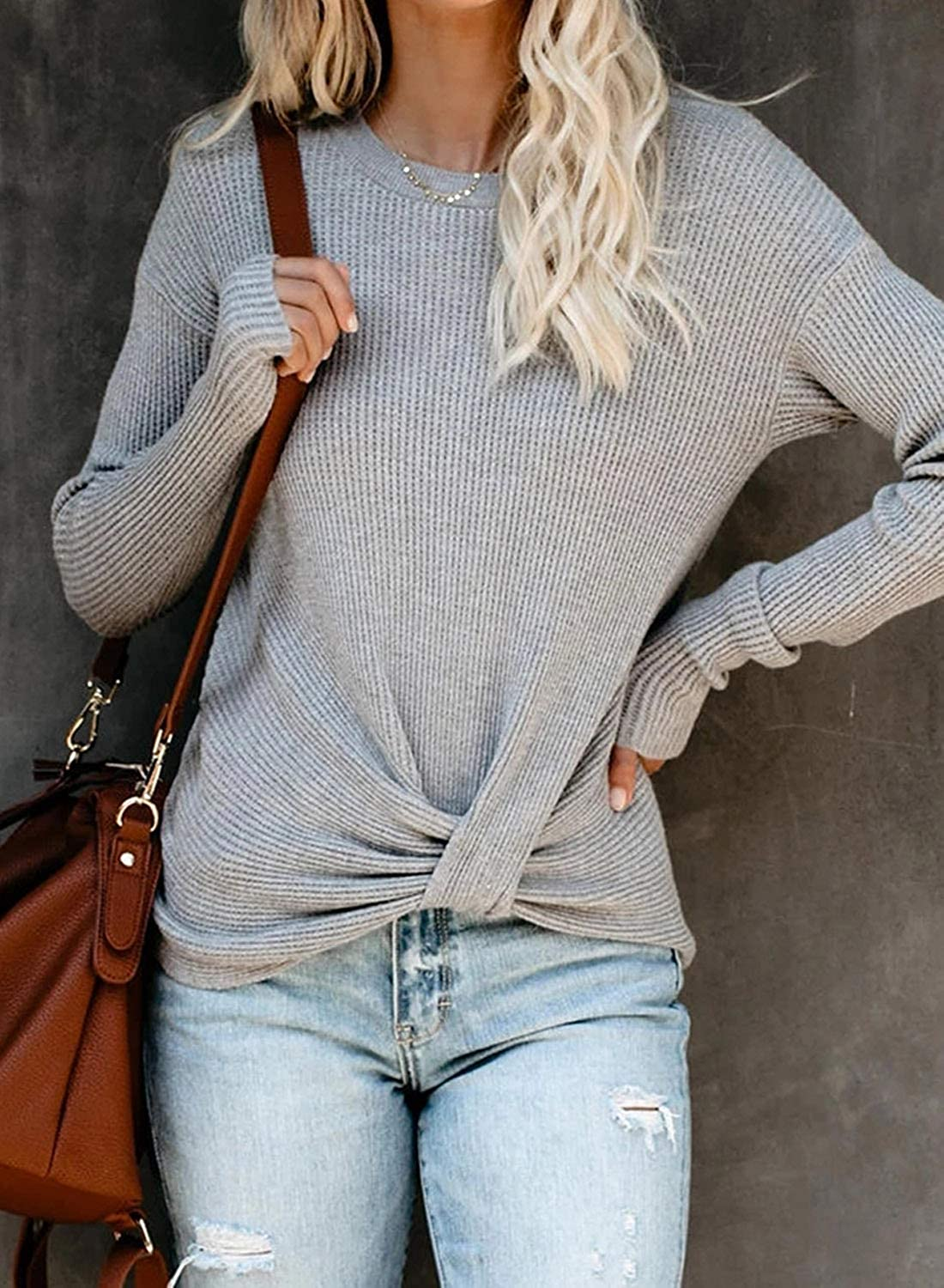 EVALESS Women Sweater Long Sleeve Front Twist Pullover Jumper Tops