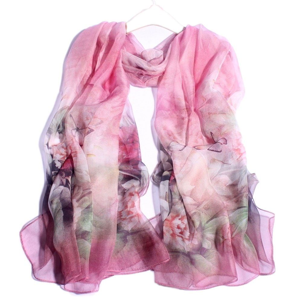 Women's Silk Scarf Printed Inelastic color Silk Scarf, the Size is 43  70 Inch,