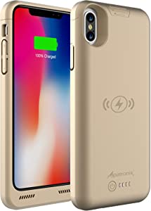 iPhone Xs/X Battery Case, BXXs Slim Portable Protective Extended Charger Cover with Wireless Charging Compatible with iPhone X & iPhone Xs (5.8 inch) - (Gold)