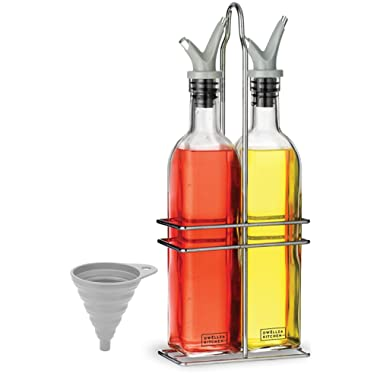 Dwellza Kitchen Olive Oil Dispenser and Vinegar Bottle Set - with a FREE Collapsible Funnel - Drip Free Double Spouts - 17 Oz. Glass Oil Bottle Container with Stainless Steel Rack