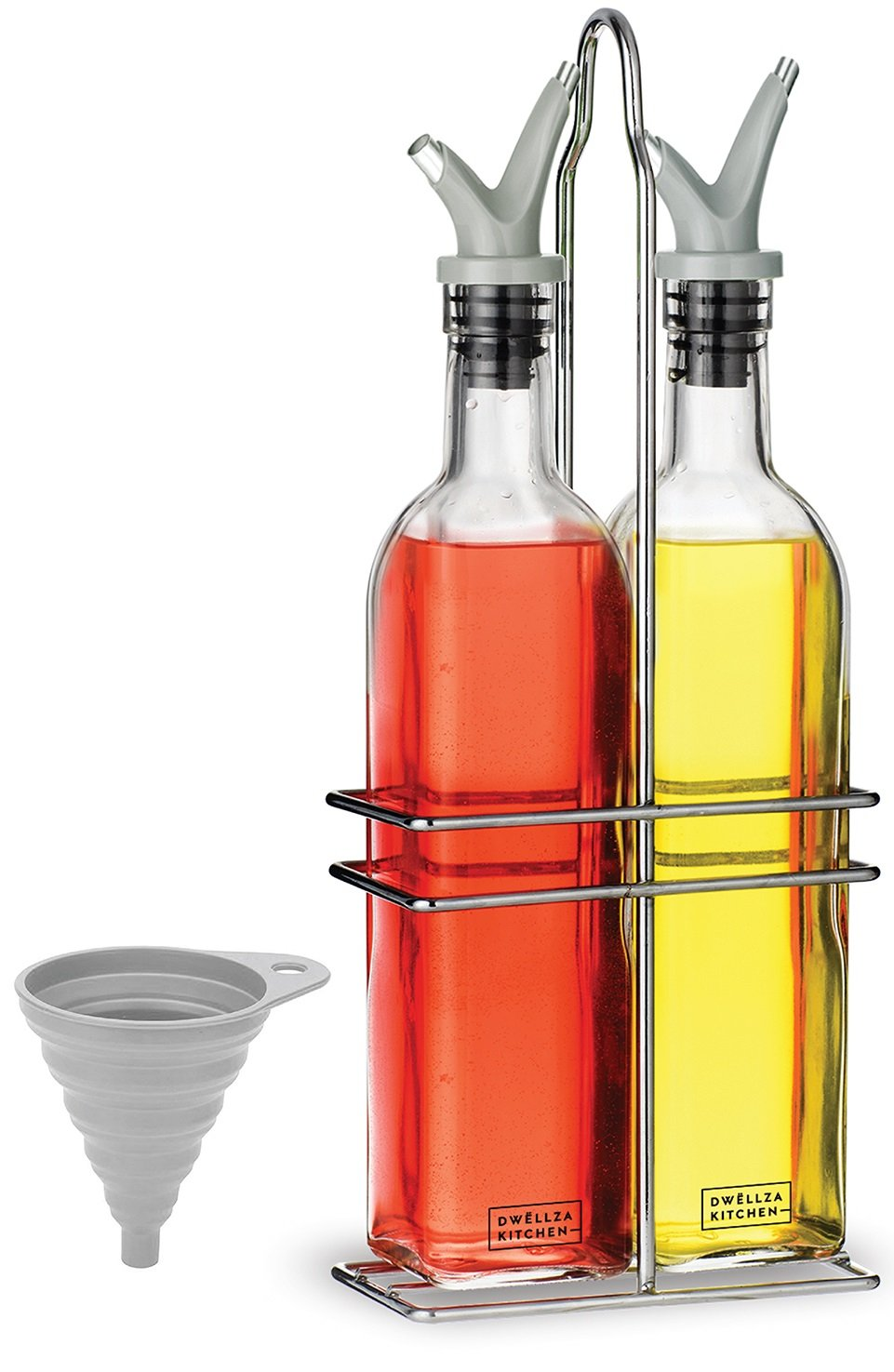Dwellza Kitchen Glass Olive Oil and Vinegar Dispenser Set with FREE Collapsible Silicone Funnel | No-Drip Double Spouts | Dishwasher-Safe Bottles and Stainless Steel Holder in Break-Free Packaging