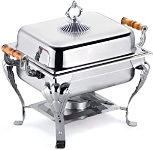 Stainless Steel Chafing Dish Buffet Set Rectangular Food Insulation with Lid Silver Food Warmer with Fuel Holder Warming Container for Buffet, Dining, Party, Wedding Banquet (A. 16.5x11.4x12.6