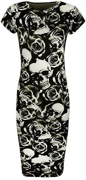 WearAll - Damen Totenkopf- und Rosen-Druck Kurzarm Figurbetontes Midi-Kleid  - ein Muster - Größe 36-42: Amazon.de: Bekleidung