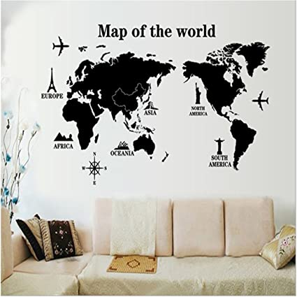 Captivating Wall Decals Stickers,Kredy U0026quot;World Mapu0026quot;3D Home Kidsu0027 Room Wall