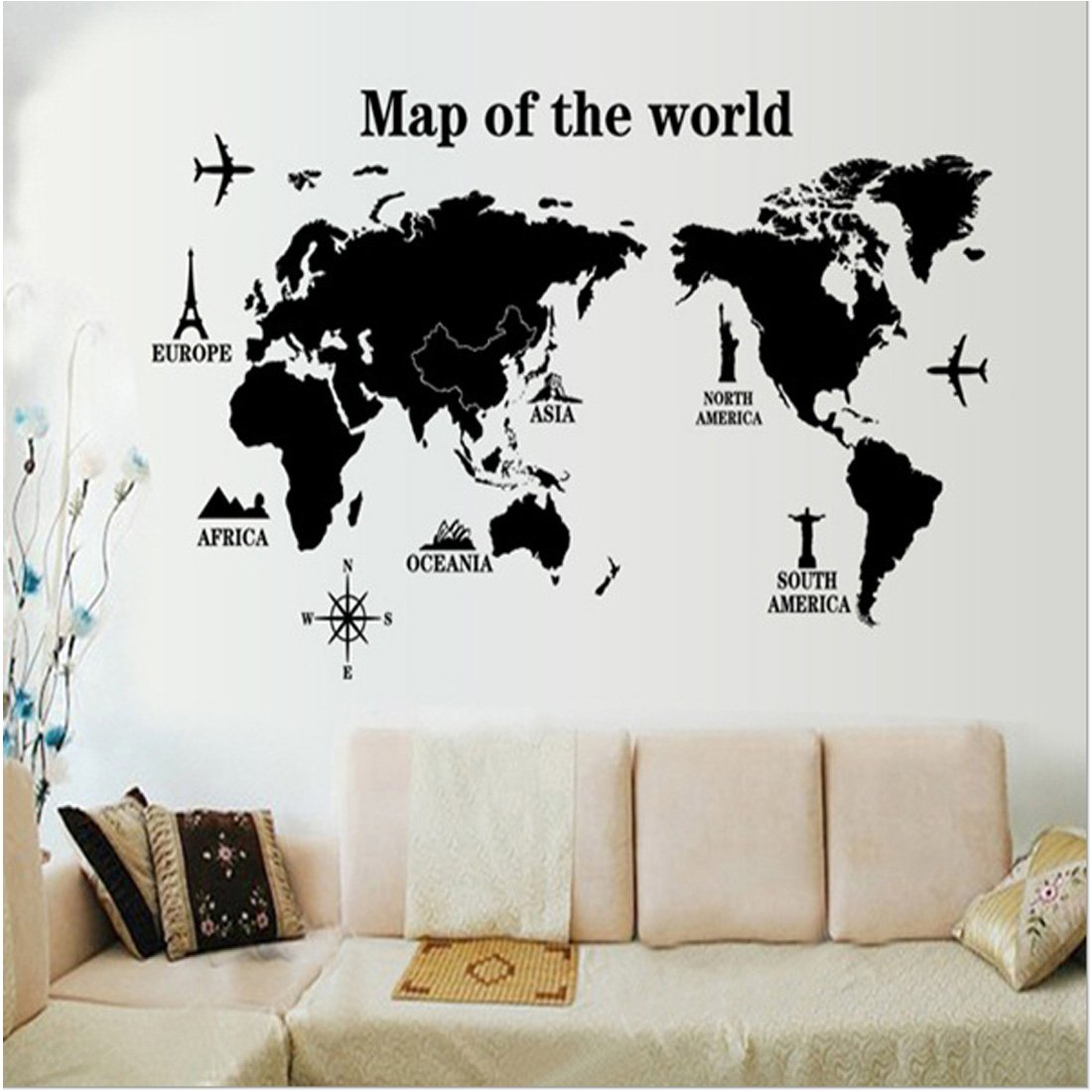 3D World Map Wall Decals Stickers Home Living Room Decoration DIY ...