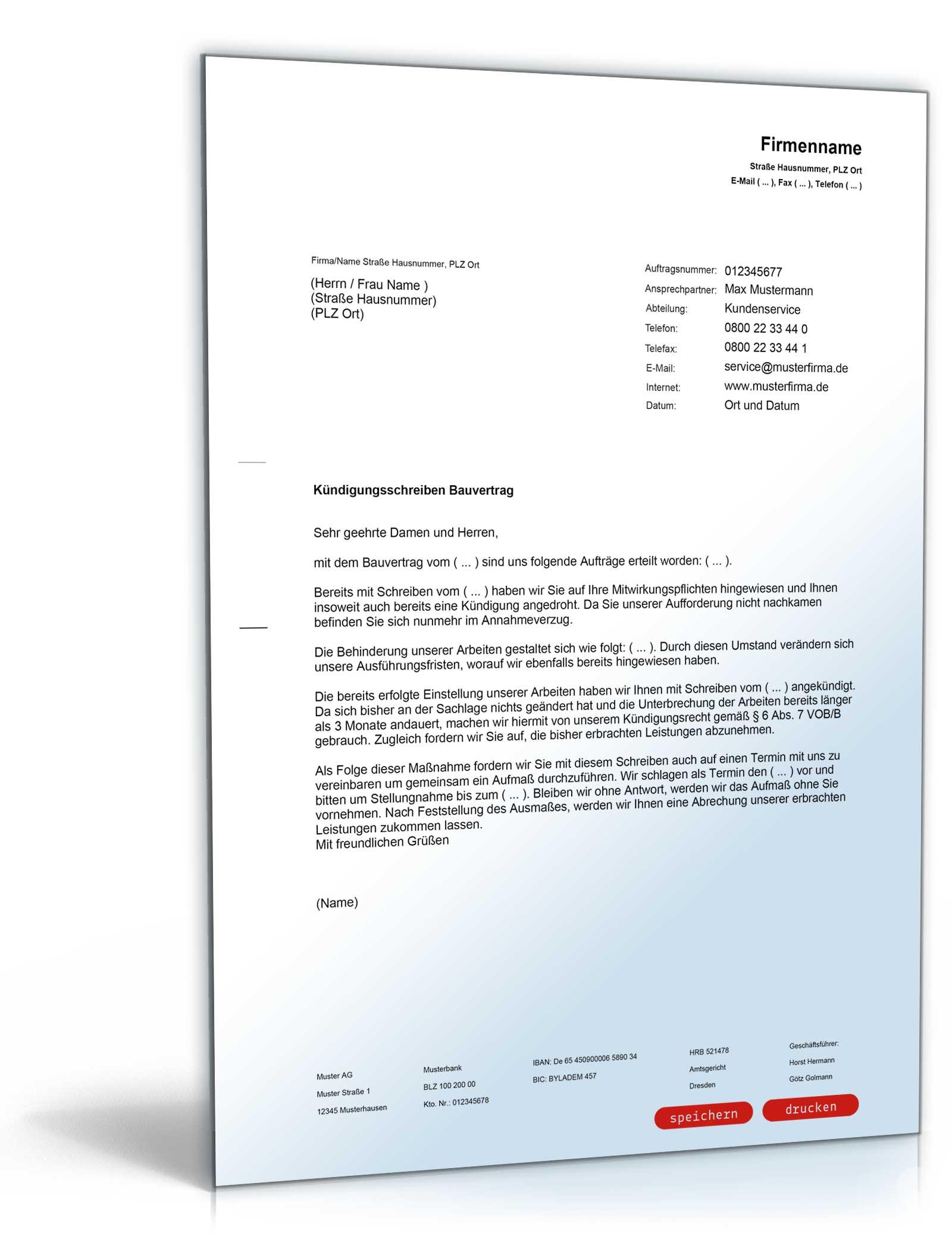 Kündigung Bauvertrag Pdf Download Amazonde Software
