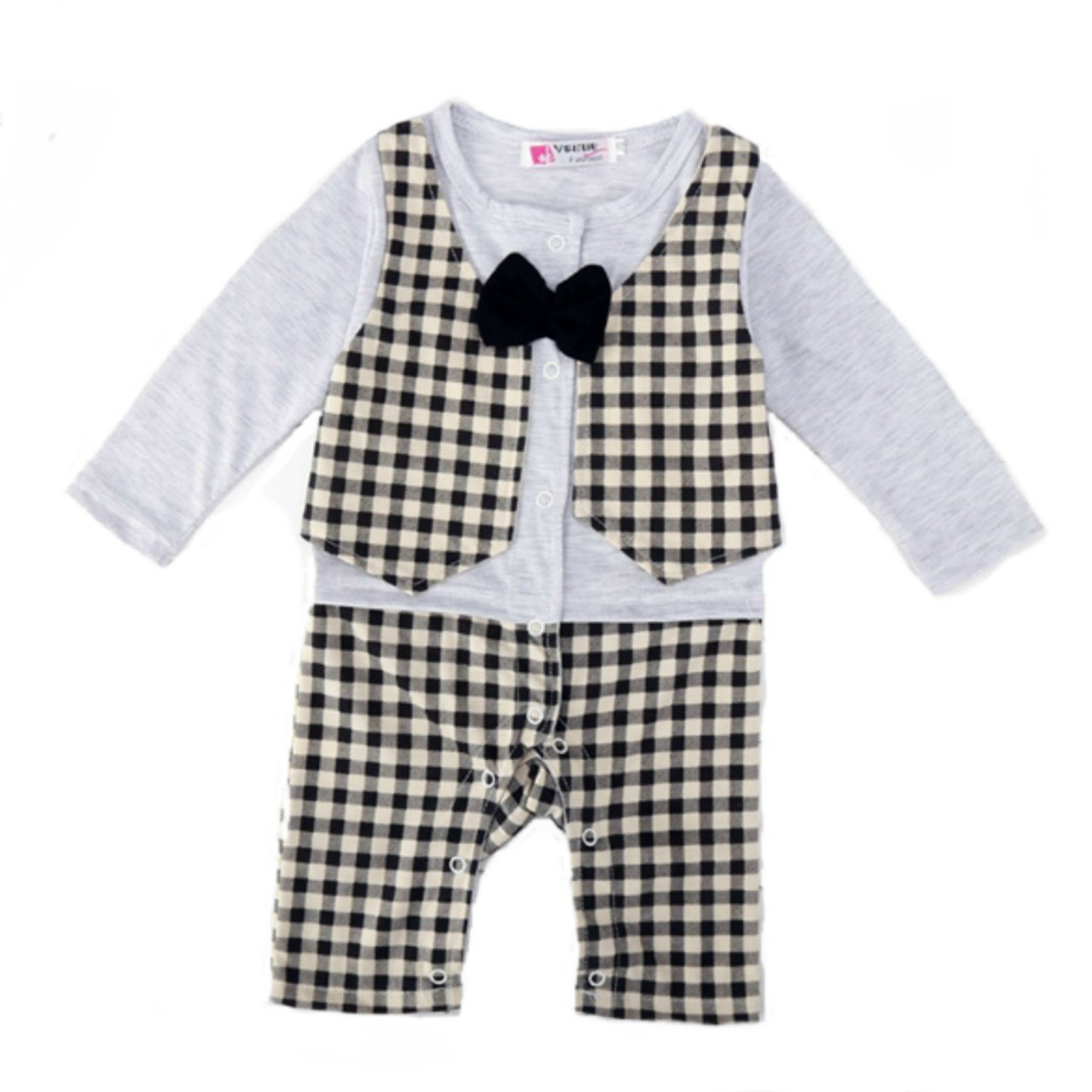 25e8c4e6664b Amazon.com  Baby Boy s Checked Long Sleeve Bow Tie Rompers Suit (80 (Fits  3-6 Months))  Clothing