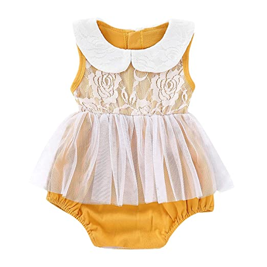 563aa588afa3 Amazon.com  0-24M Baby Infant Girls Romper Cotton Lace Mesh Applique ...