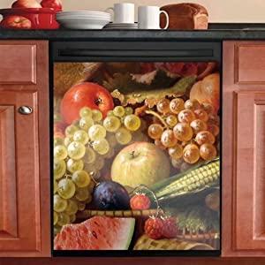 Grape Fruits Magnetic Dishwasher Sticker Cover Decal Decoration,Apple Decor Kitchen,Magnetic Sticker Decorative Washing Machine Refrigerator Door 23in W x 26in H