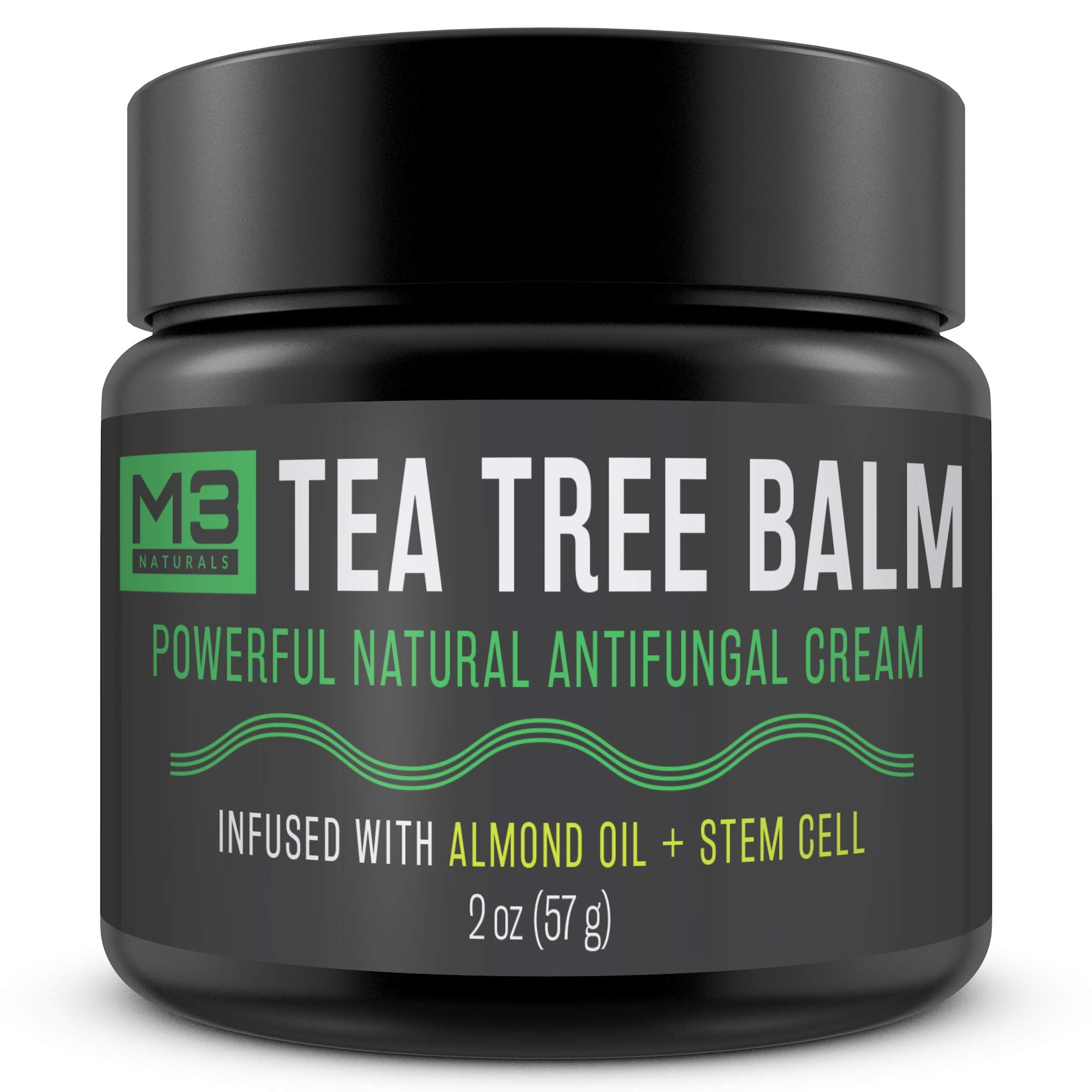 M3 Naturals Tea Tree Balm Infused with Almond Oil and Stem Cell Powerful All Natural Antifungal Cream Athletes Foot Jock Itch Nail Fungus Skin Care Irritation Anti Fungal 2 OZ by M3 Naturals