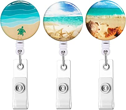 Pretty French Fruit Liqueur Badge Reel Retractable ID Reel Name Tag Badge Holder