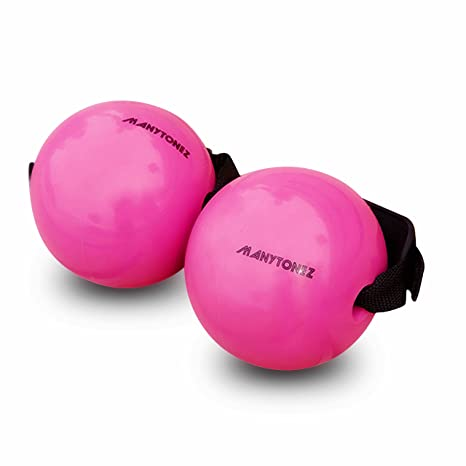 MANYTONEZ 2 lb Soft Weighted Toning Ball / Medicine Ball with Handle Strap  - Set of