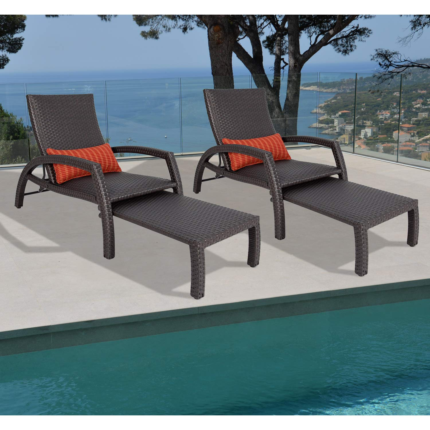 Ulax Furniture Outdoor Wicker Convertible Chaise Lounge Patio Woven Padded 2-Pack Aluminum Lounger Adjustable Chair with Quick Dry Foam and Sunbrella Pillow