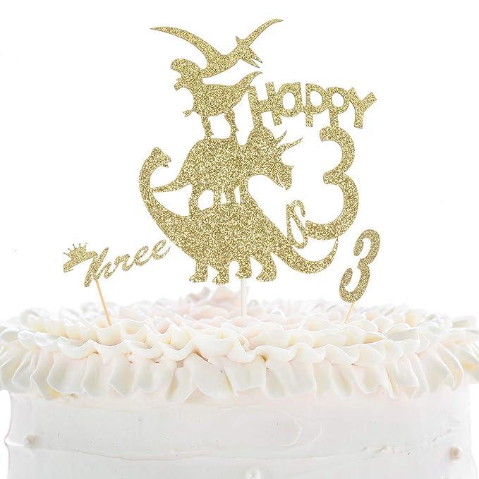 Terrific Happy 3Rd Birthday Cake Topper Dinosaur Theme Gold Glitter Decor Funny Birthday Cards Online Alyptdamsfinfo