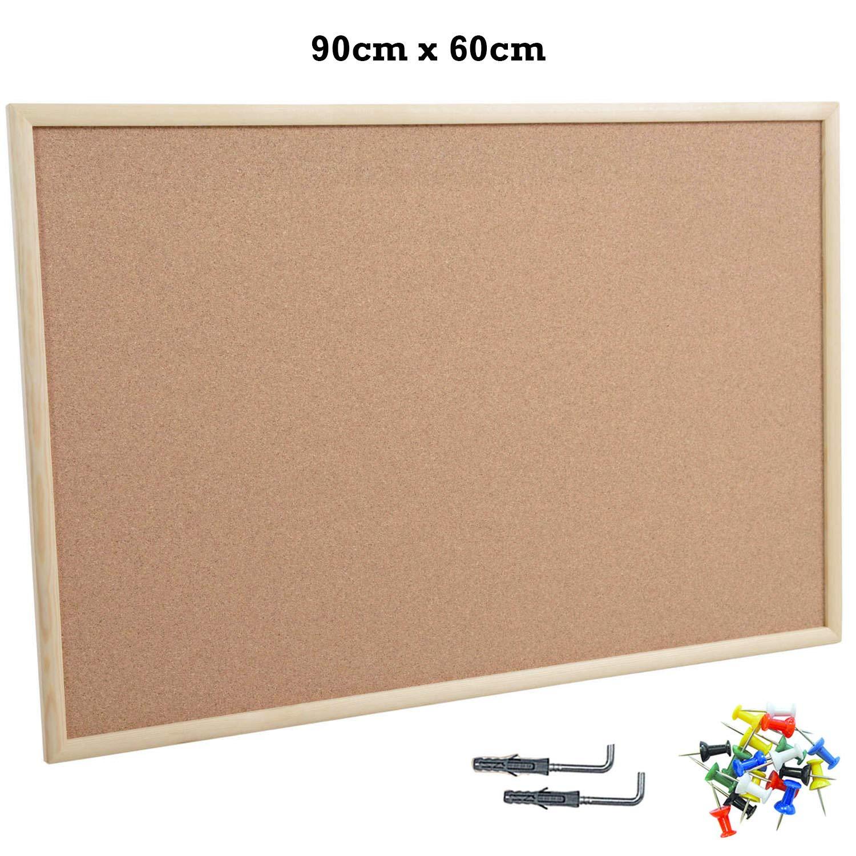 B/üronotiztafel Schulanschlagstafel 900 x 600 mm Wandbefestigung Pinnwand aus Kork mit Holzrahmen und 20 Stecknadeln