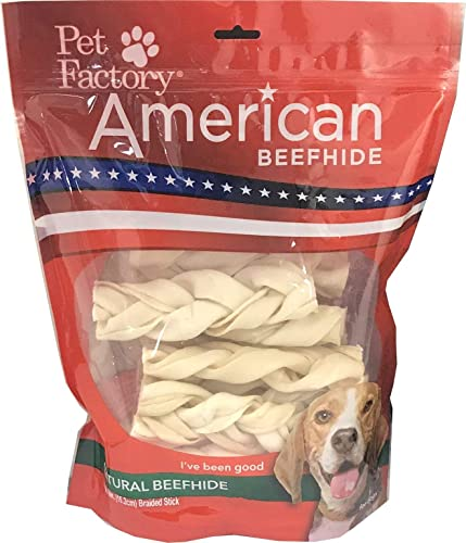 Pet Factory American Beefhide Chews 28219 Rawhide Natural Flavor 6 Braided Stick for Dogs. American Beefhide is a Great Source for Protein and Assists in Dental Health. 14 Pack, Resealable Package