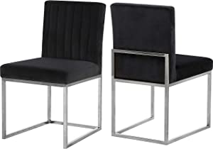 "Meridian Furniture Giselle Collection Modern | Contemporary Velvet Upholstered Dining Chair with Durable Metal Base, Set of 2, 18"" W x 22"" D x 32"" H, Black"
