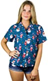 KAMEHAMEHA Hawaiian Blouse Shirt for Women Funky Casual Button Down Very Loud Shortsleeve Santa Christmas X-Mas Mix