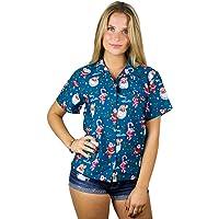 KAMEHAMEHA Hawaiian Blouse Shirt for Women Funky Casual Button Down Very Loud Shortsleeve Santa Christmas X-Mas Mix