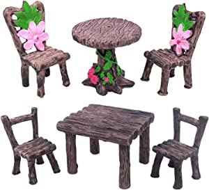 Trasfit 6 Pieces Miniature Table and Chairs Set, Fairy Garden Furniture Ornaments Kit for Dollhouse Accessories, Home Micro Landscape Decoration (Set of 6 Table and Chairs)
