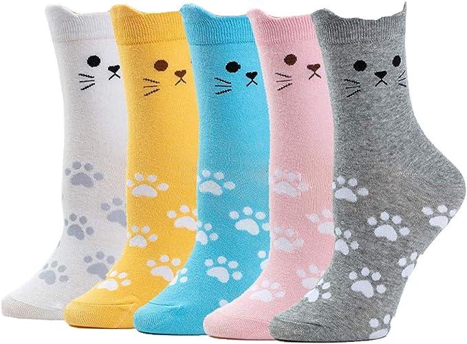 Ouinne 5 Pares Calcetines de Mujer, Colores Mezclados Animales de ...