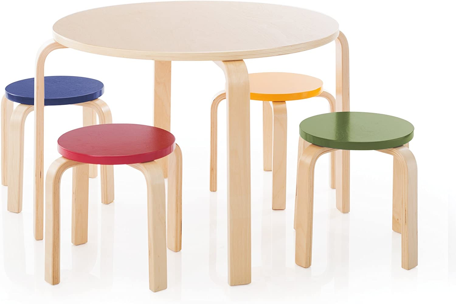 Guidecraft Nordic Table and Chairs Set for Kids: Multi-Color - Stacking Bentwood Stools with Curved Wood Activity Table - Children's Modern Kitchen, Playroom and Classroom Furniture
