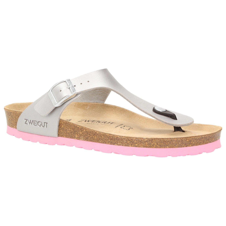 Zweigut Hamburg- Luftig #555 Damen Zehentrenner Sandalen Schuhe Sommer mit Leder-Komfort-Fuszlig;bett  38 EU|Silber