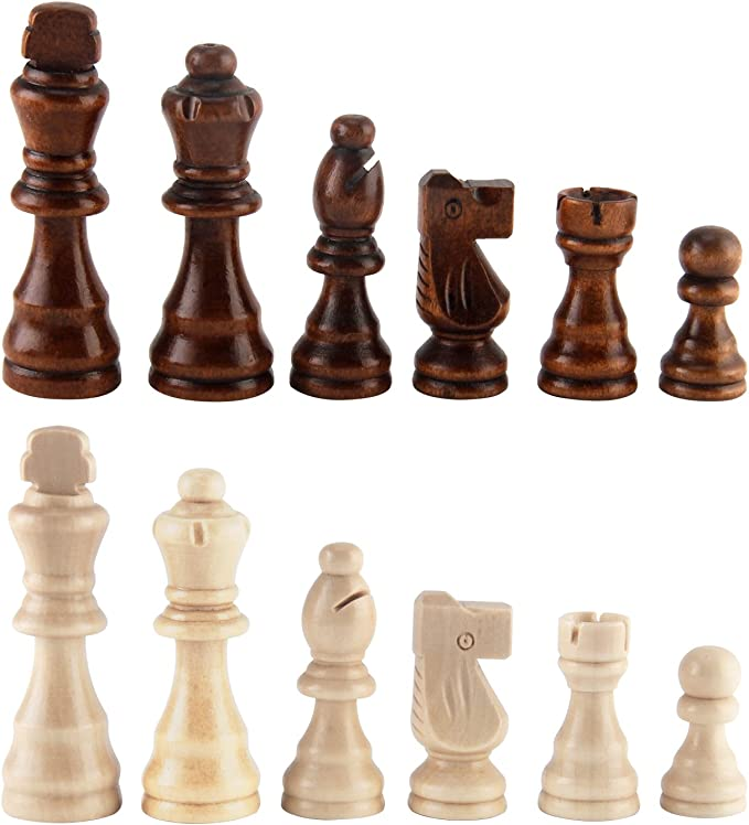 Wood Chess Pieces only Without Board for Replacement of Missing Piece...