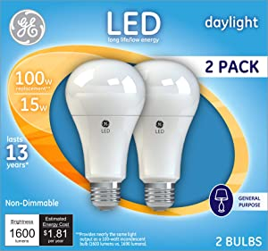 GE Lighting 21868 Light Bulb Daylight A21 LED 15-Watt (100-Watt Replacement), 1600-Lumen Medium Base, 2-Pack, Piece