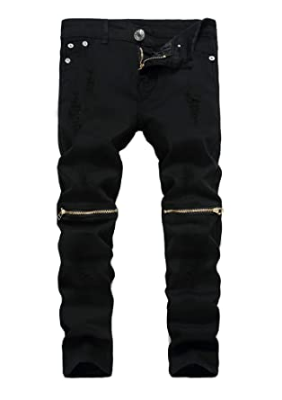 2f604caa6 Kihatwin Boy's Skinny Ripped Jeans Slim Fit Distressed Zipper Pants with  Holes Black 6