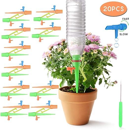 Colmanda Riego por Goteo Automático Kit, 20 Piezas Ajustable Piezas Riego por Ggoteo Spike Sistema de Irrigación Dispositivos AutomáTicos De Riego para Jardín Bonsáis y Flores: Amazon.es: Jardín