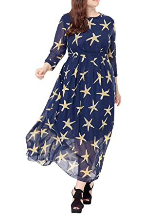 Womens Classic Star Pattern Chiffon Party Maxi Prom Dress Long Evening Gown Blue 4XL