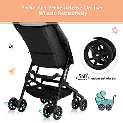 Amazon.com : BABY JOY Pocket Stroller, Extra Lightweight Compact Folding Stroller, Aluminum Structure, Five-Point Harness, Easy Handling for Travel, ...