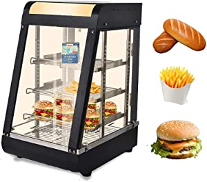 15-Inch Commercial Food Warmer Display,3-Tier 800W Electric Countertop Food Warmer Display 30-85℃ Pastry Display Case for Buffet Restaurant Hamburger Pizza