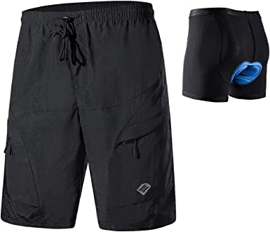 Suyye Mens Cycling Shorts 3D Padded MTB Mountain Bike Shorts Loose-fit